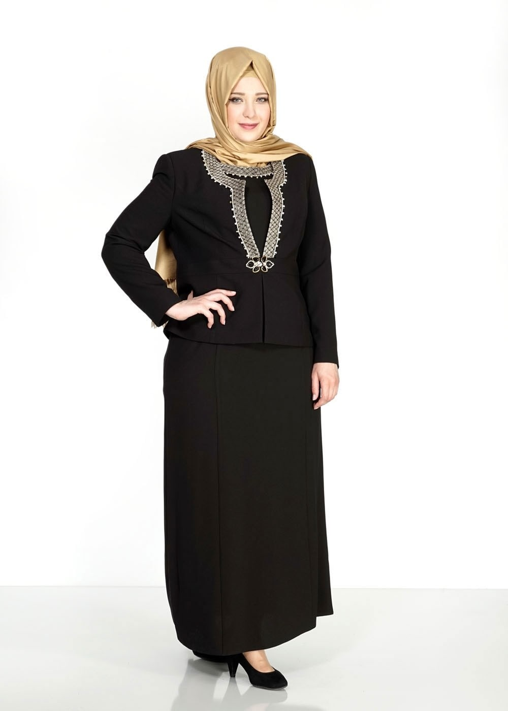 Femelle NOIR T 3118 Camila Tesettür Elbiseli Tkm-Alv Fashion