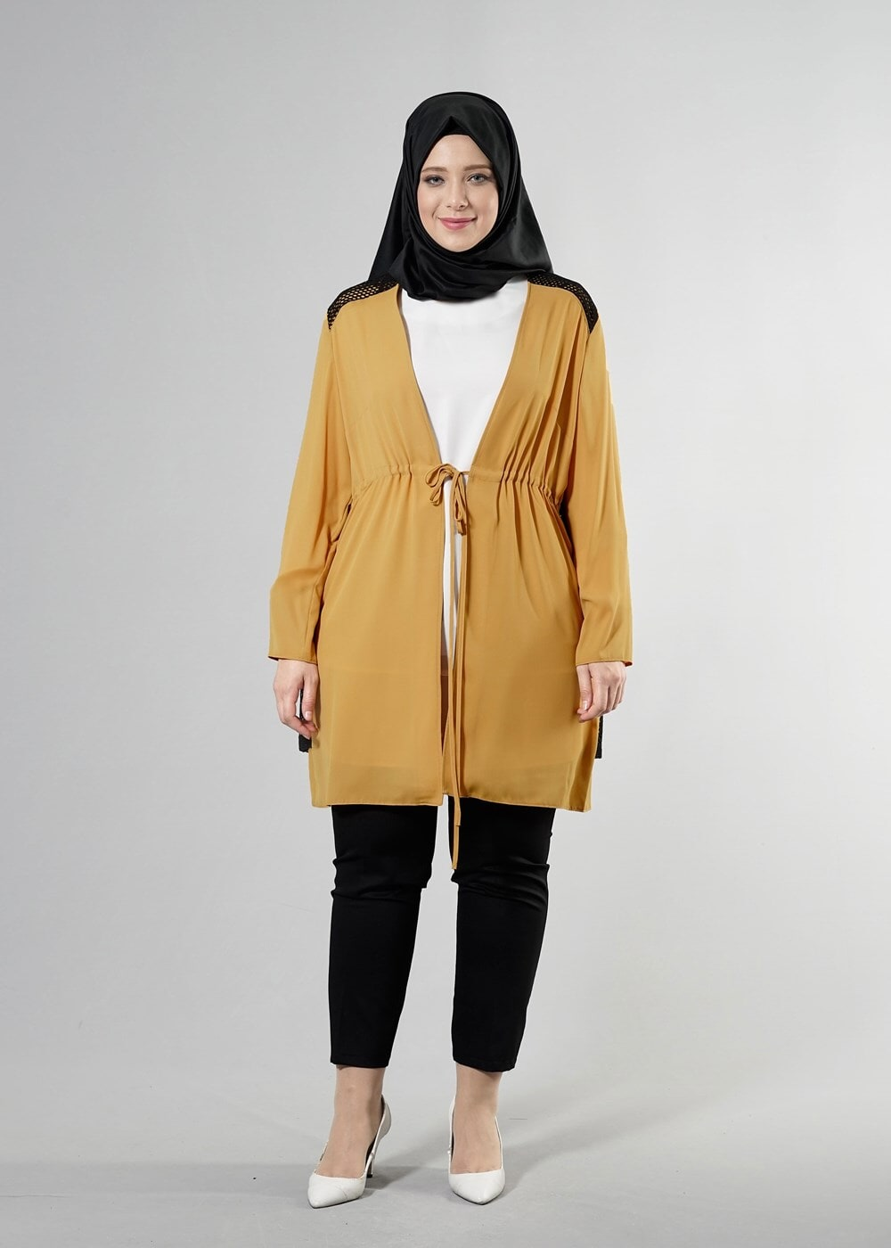 Female YELLOW T 2516 Port  Crep  Düz Tesettür Ceket-Alv Fashion