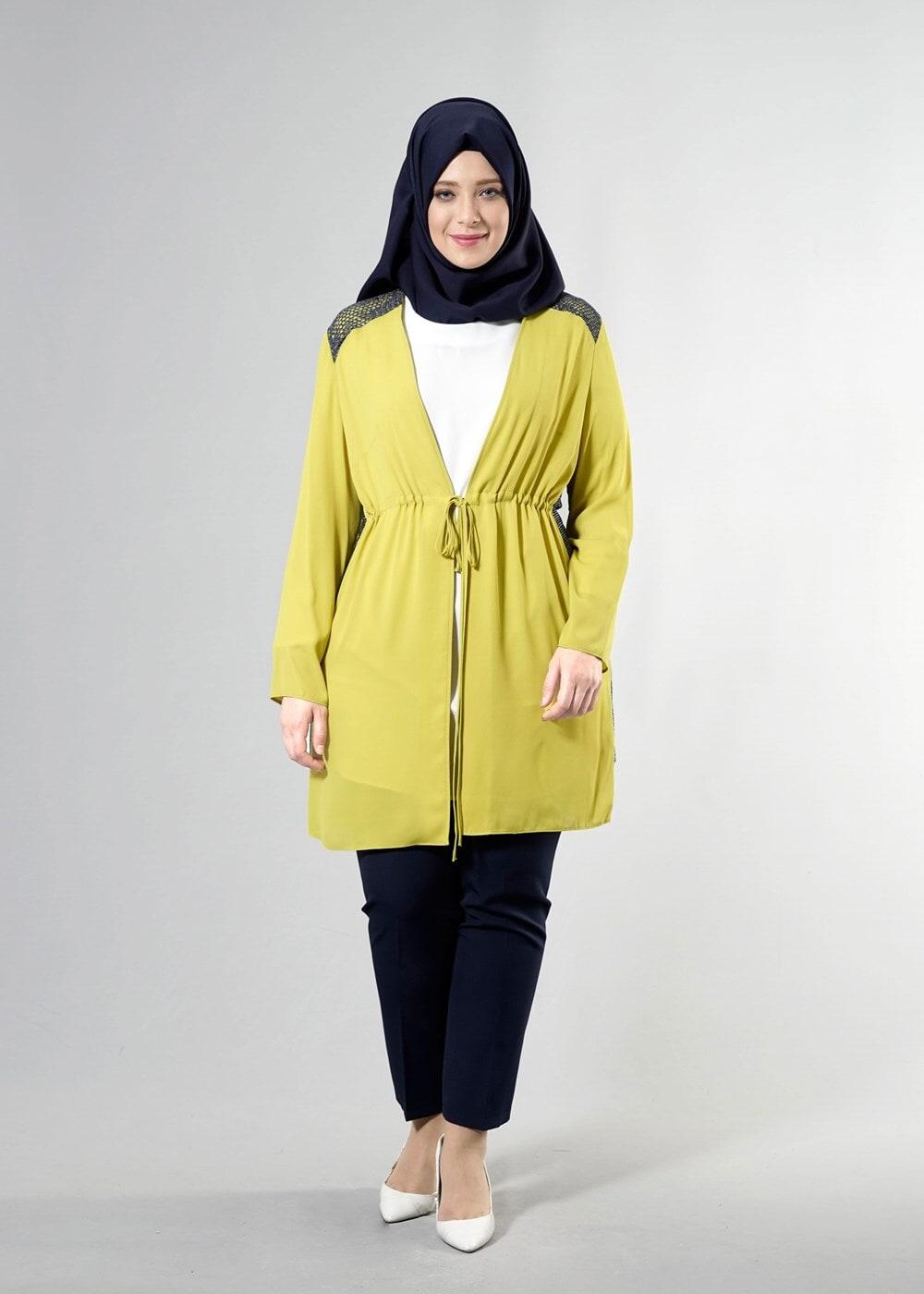 Bayan YEŞİL T 2516 Port  Crep  Düz Tesettür Ceket-Alv Fashion