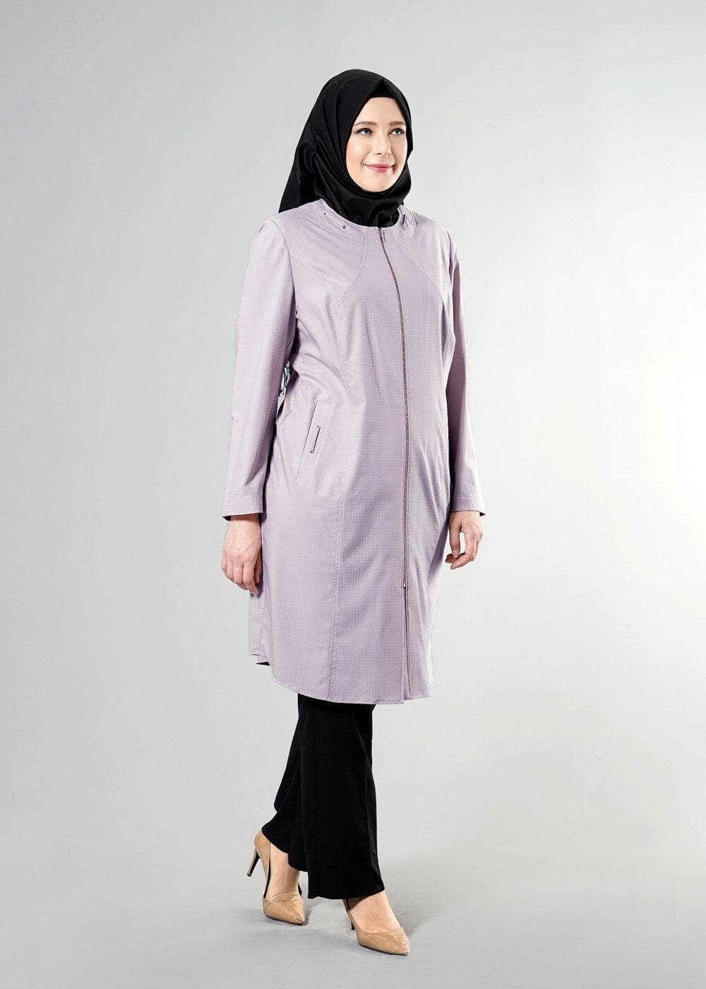 Female POWDER T 1529-1 Söğüt Tesettür Trench-Alv Fashion