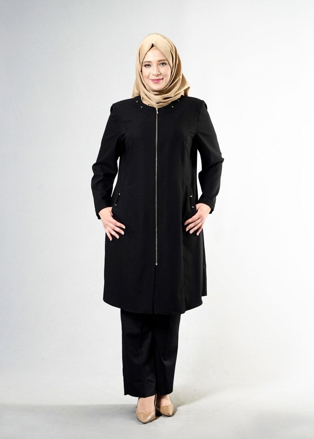 Female BLACK T 1529 Duke Tesettür Trench-Alv Fashion