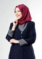 Bayan LACİVERT T 1587 Esma Tesettür Trench-Alv Fashion