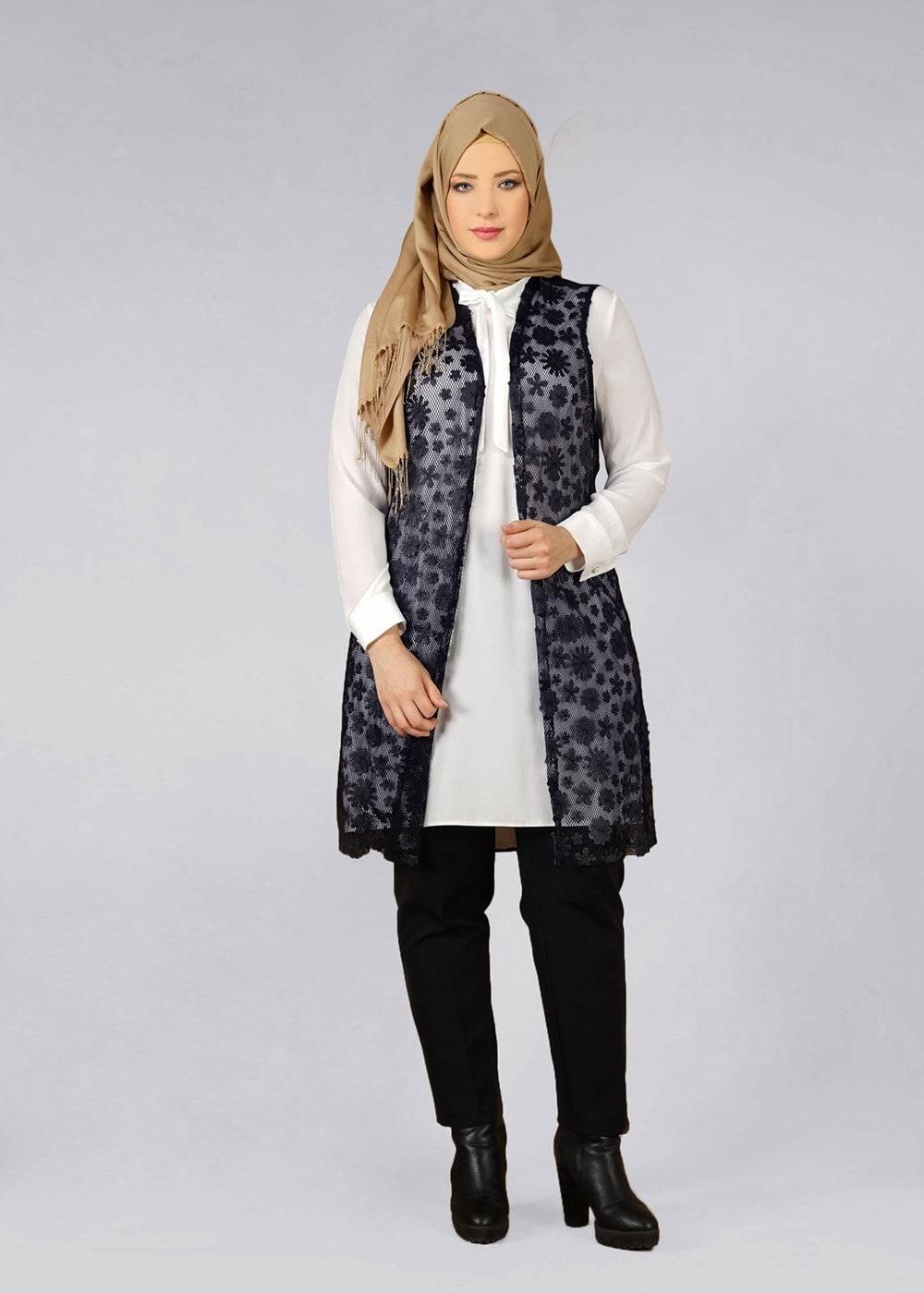 Bayan LACİVERT T 4521 AG 41 2′li Tesettür Tunik-Alv Fashion