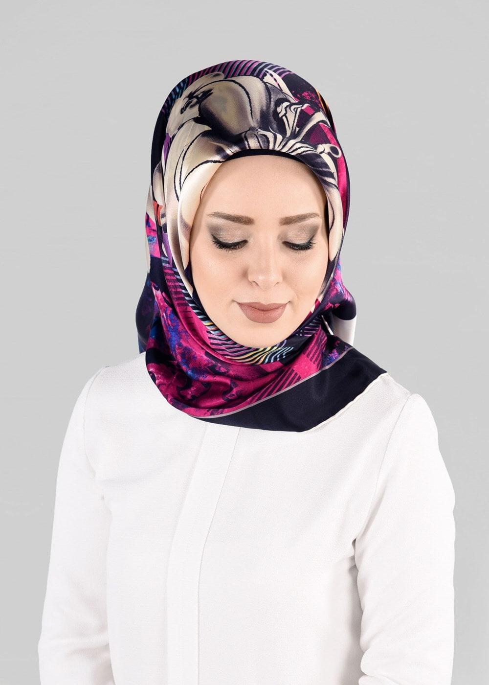 Bayan SİYAH T 12966-1 ALVİNA İPEK EŞARP-ALVİNA