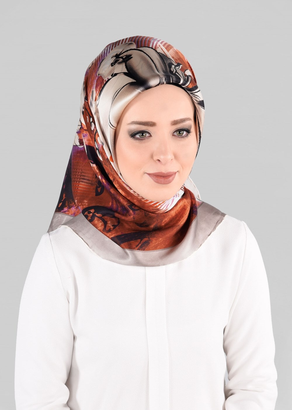 Bayan BEJ T 12966-1 ALVİNA İPEK EŞARP-ALVİNA