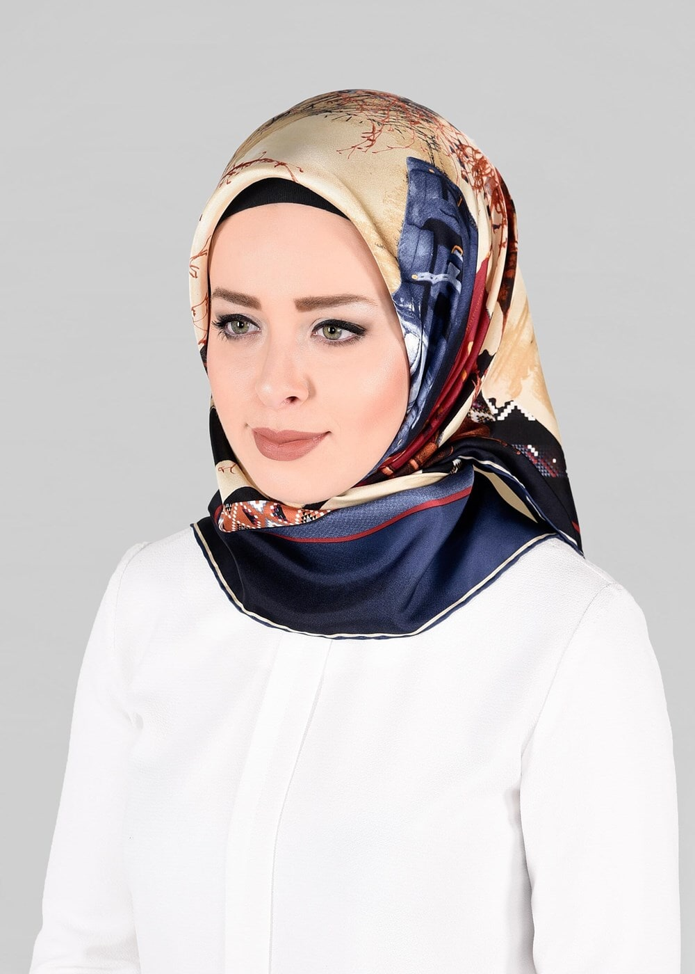 Bayan LACİVERT T 13286-1 ALVİNA İPEK EŞARP