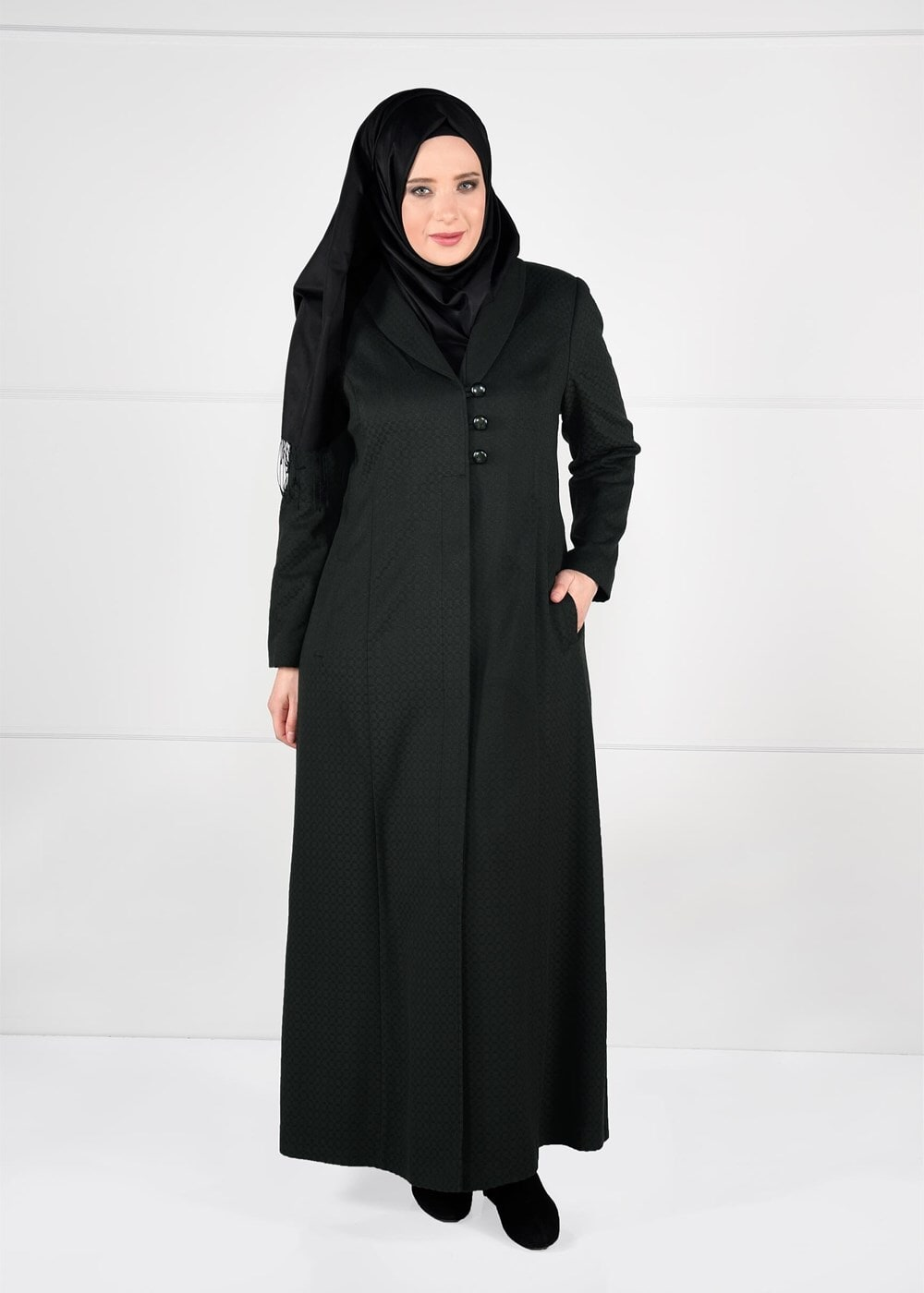 Bayan HAKİ DÜĞME DETAYLI KAŞE MANTO 9574