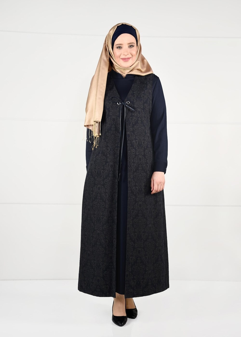 Female NAVY BLUE TIE-FRONT JAQUARD DRESS 3322
