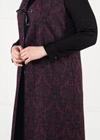 Female Plum TIE-FRONT JAQUARD DRESS 3322