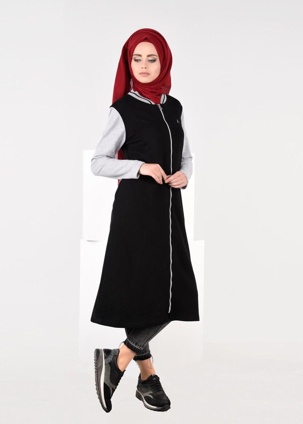Bayan SİYAH FERMUARLI EŞOFMAN TUNİK 6609