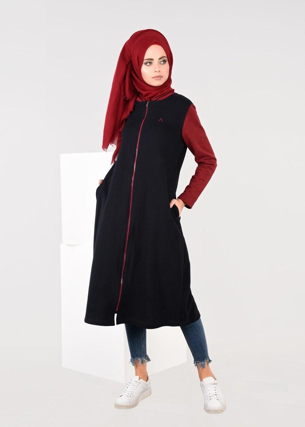 Bayan LACİVERT FERMUARLI EŞOFMAN TUNİK 6609