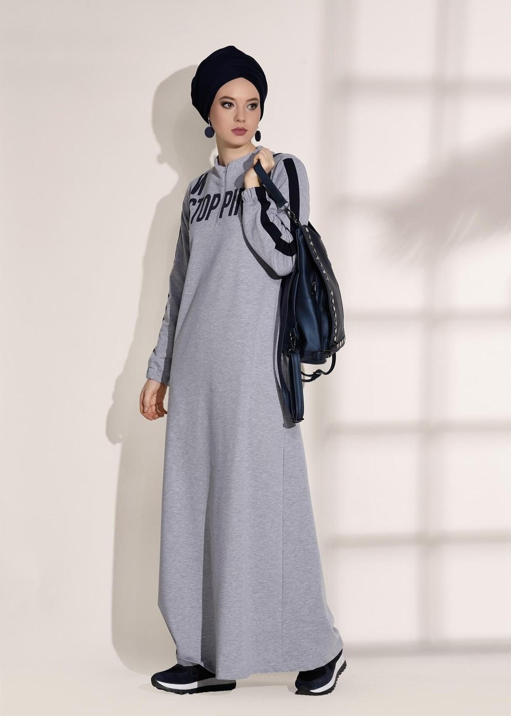 Femelle GRIS T 3808 Bwest- Yaka Kısmı Fermuar Detaylı Elbise