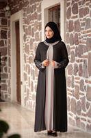 Bayan SİYAH T 4803 Amine Hüma- Dantel Detaylı Elbise