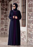 Female NAVY BLUE LACE DETAIL DRESS T 4803
