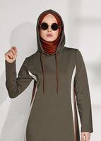 Femelle KAKI T 5008 Bwest-Çizgi Detaylı Spor Elbise