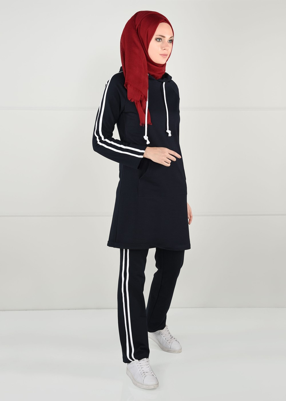 Bayan LACİVERT YANLARI ŞERİT DETAYLI EŞOFMAN ALTI 1500