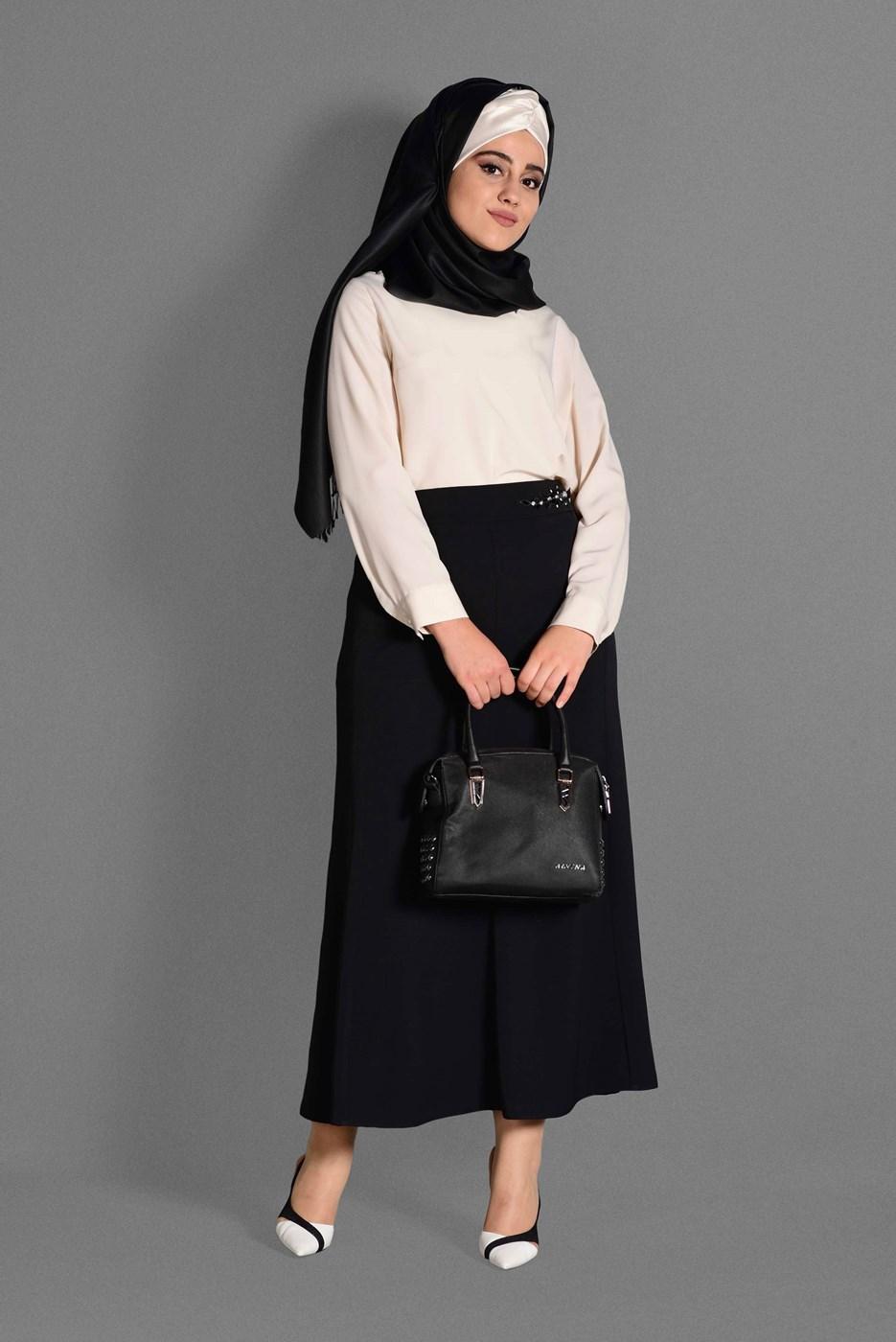 Femelle NOIR T 6059 Baklava Etek-Alv Fashion