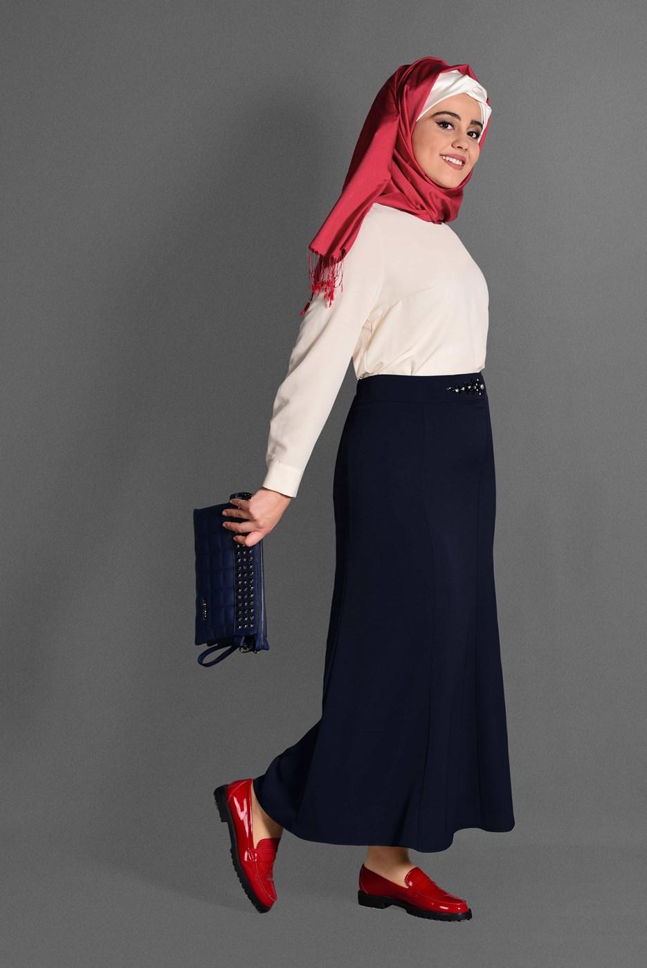 Femelle BLEU MARINE T 6059 Baklava Etek-Alv Fashion