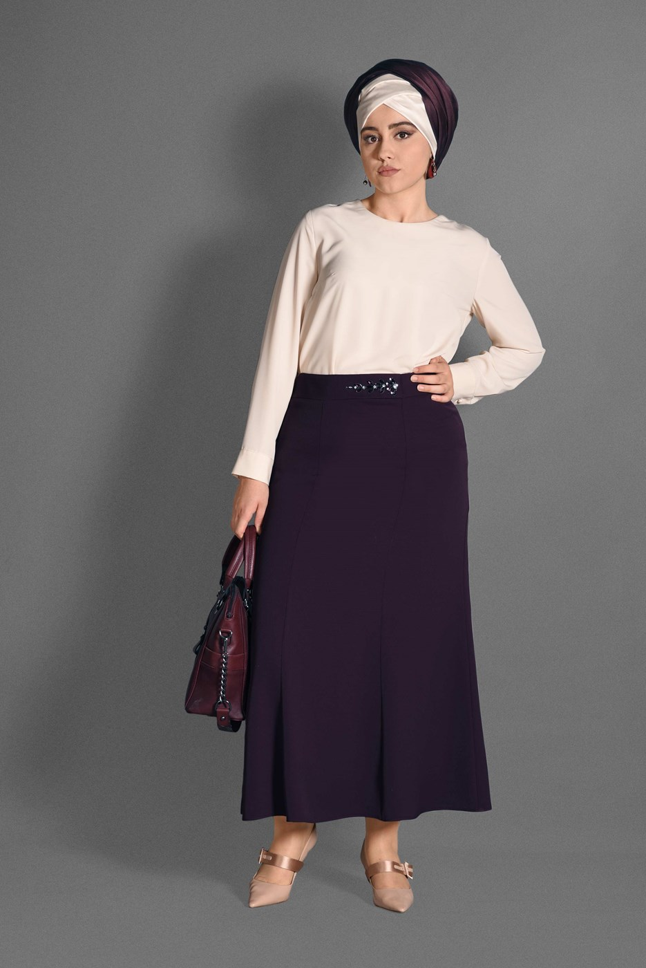 Bayan Mürdüm T 6059 Baklava Etek-Alv Fashion
