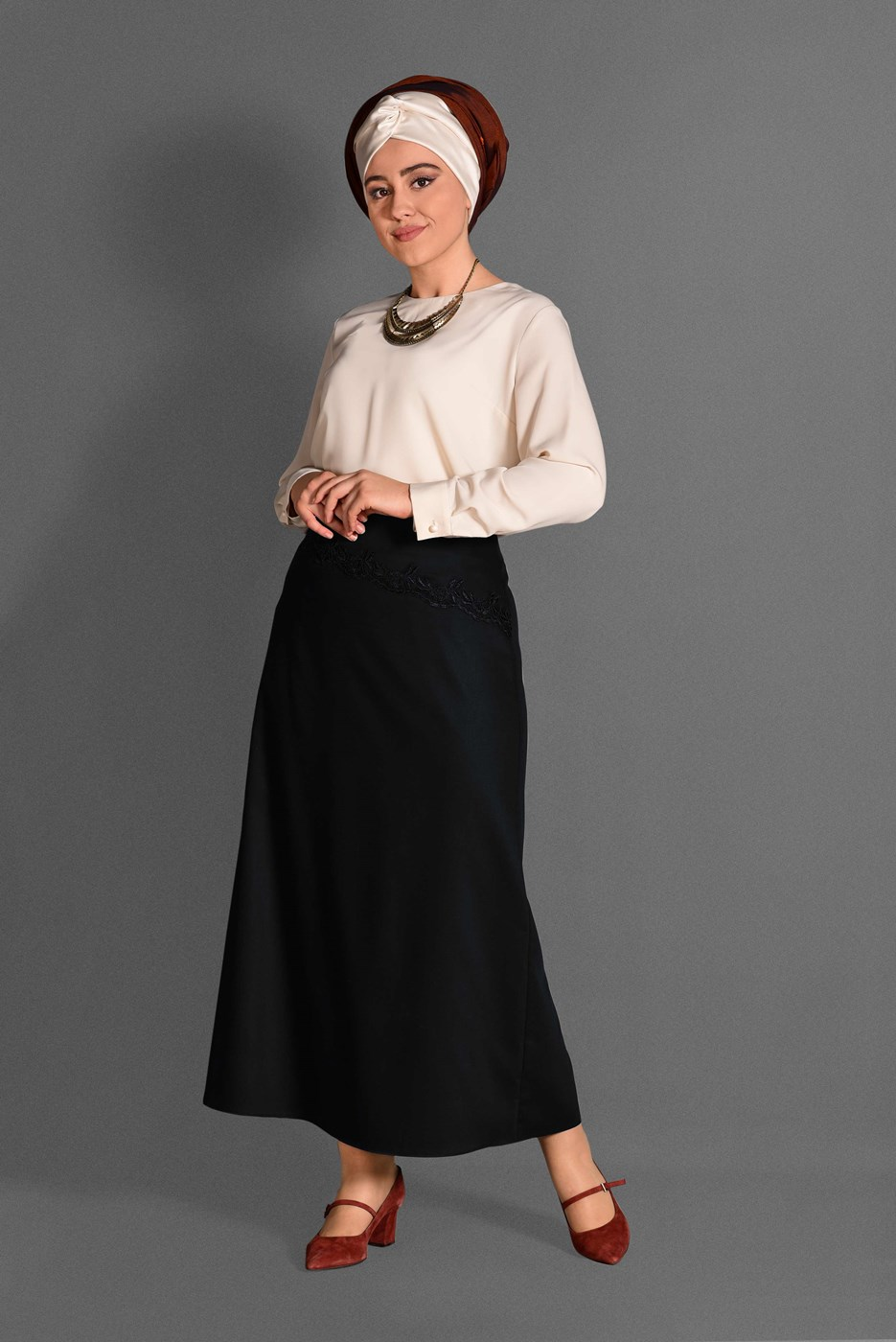 Bayan SİYAH T 6077 Natalia Etek -Alv Fashion