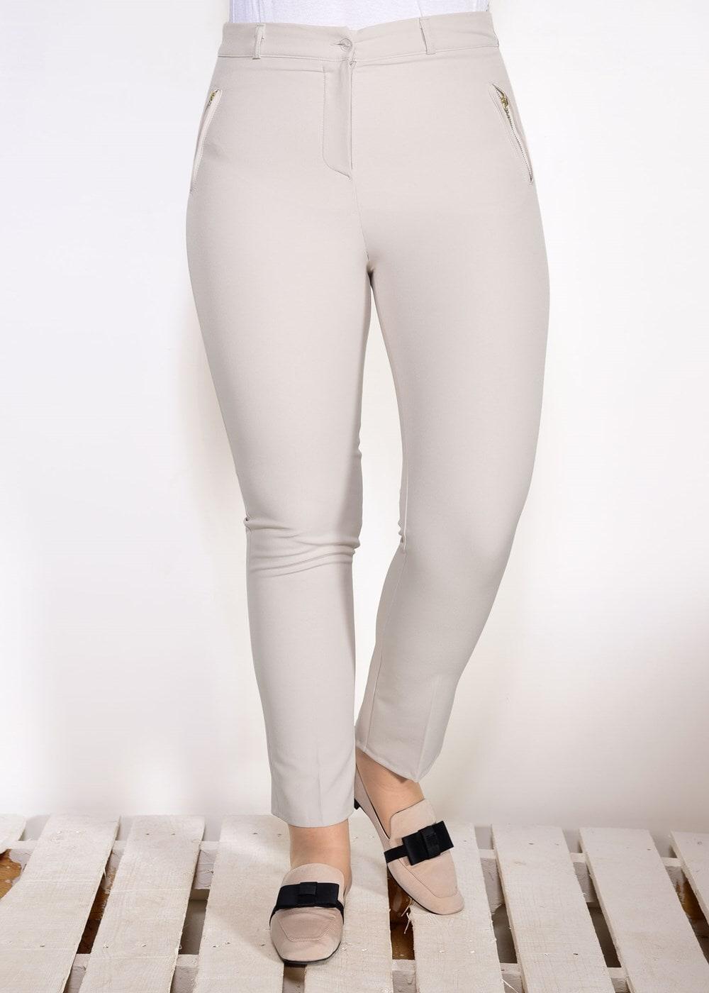 Femelle BEIGE T 7402 Amine Hüma-Klasik Kesim Pantolon