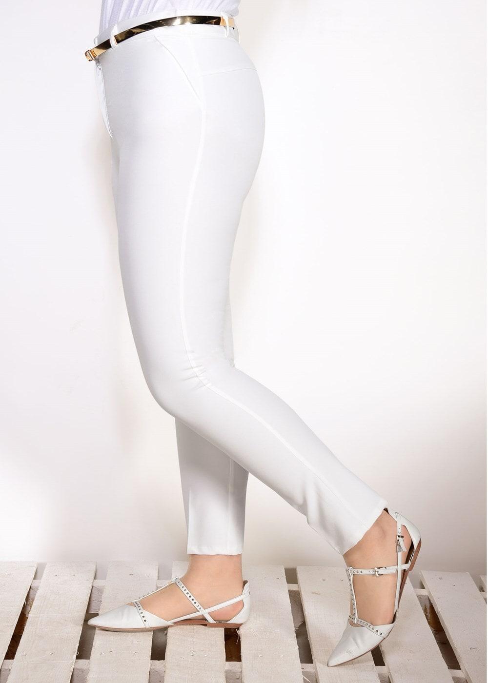 Female BEIGE BELT DETAILED PANTS 7602