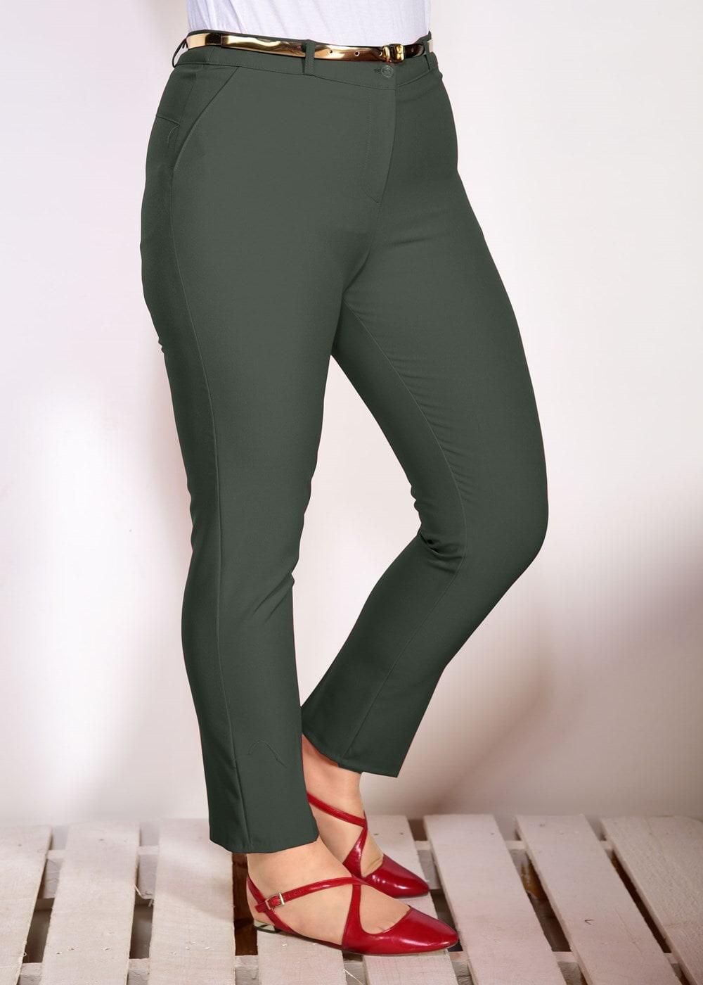 Bayan HAKİ T 7602 Amine Hüma- Kemer Detaylı Pantolon