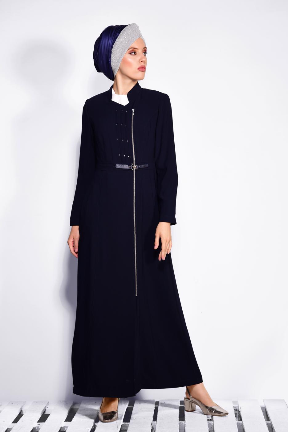 Bayan LACİVERT T 1036 Virona Tesettür Pardesü-Alv Fashion