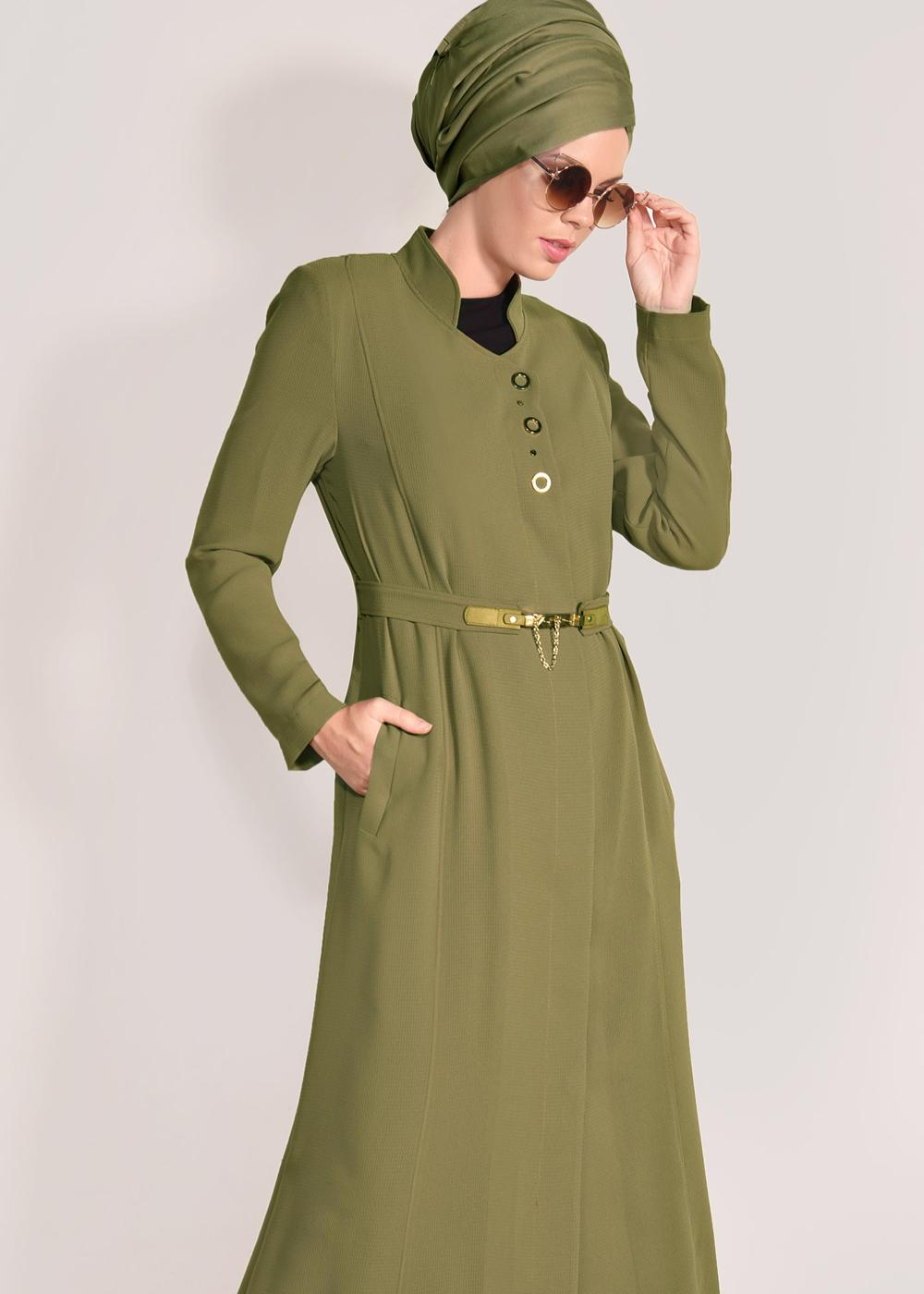 Bayan SARI T 1049 Orlando Tesettür Pardesü-Alv Fashion