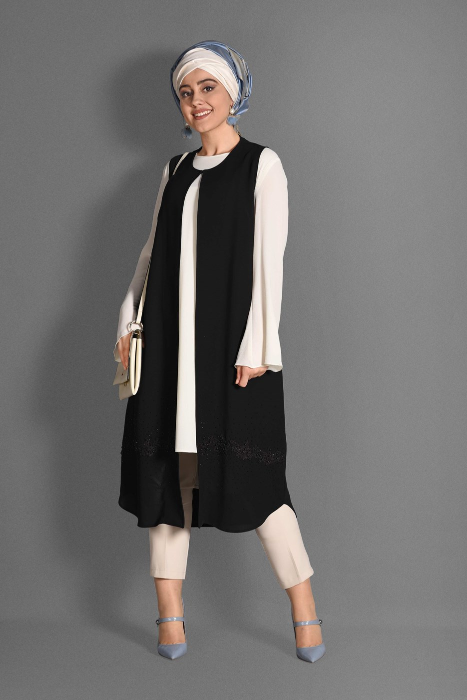 Femelle NOIR T 4537 Milas 2′Lİ Tesettür Tunik-Alv Fashion