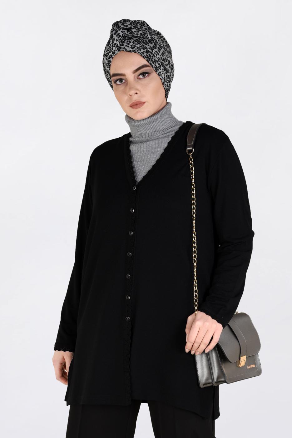 Bayan SİYAH DÜĞMELİ TRİKO CEKET 2772