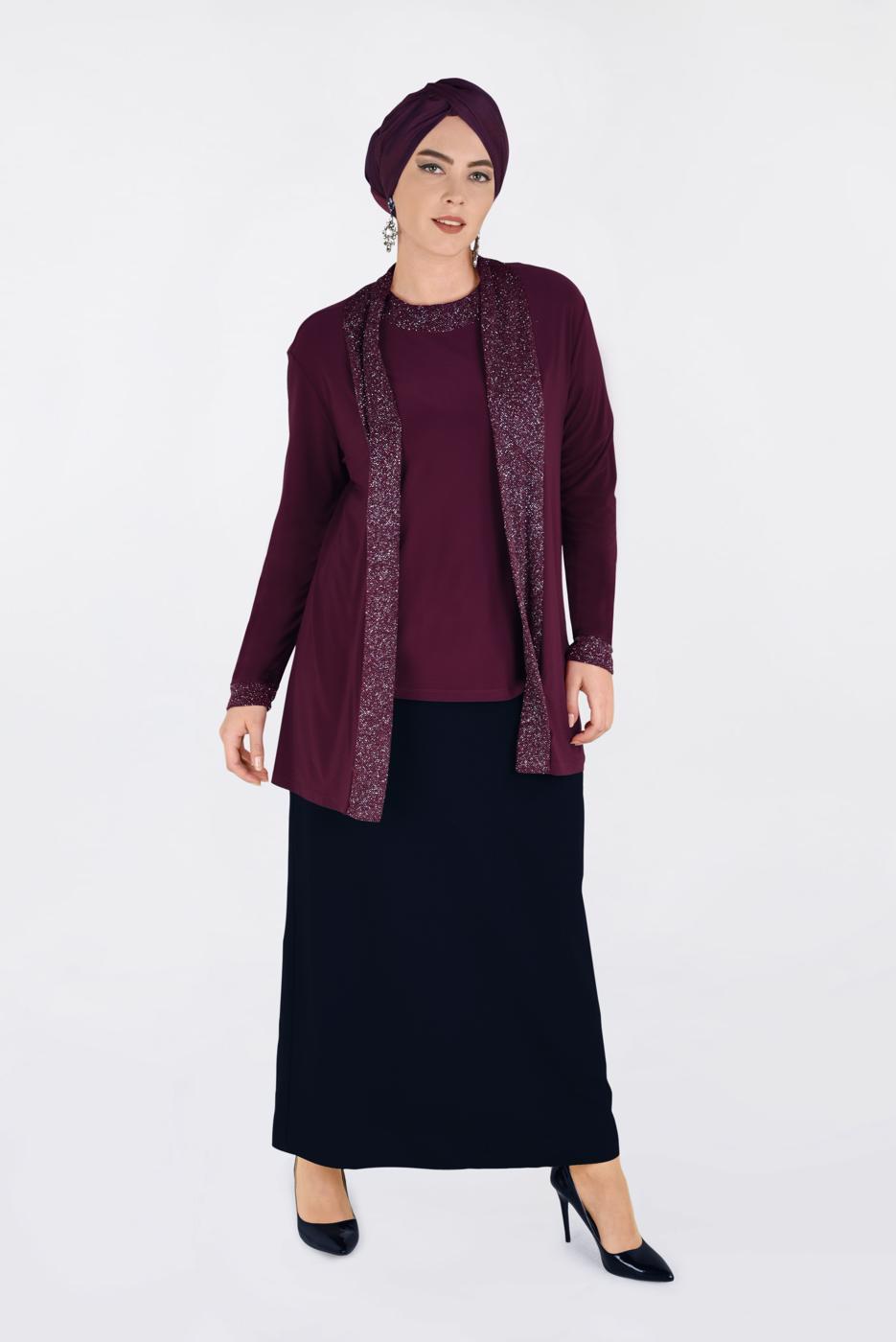 Female CLARET RED T 2806 Alvina Vizona 2′li Bluz