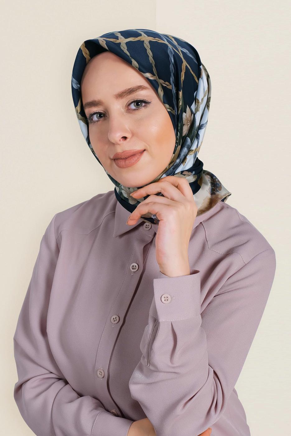 Bayan LACİVERT T 12183-1 ALVİNA DESENLİ EŞARP