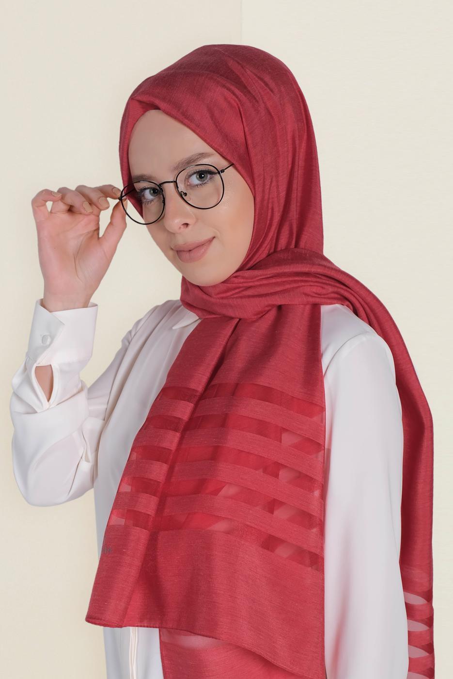 Female RED T 9950 ALVİNA TÜLLÜ ABİYE ŞAL