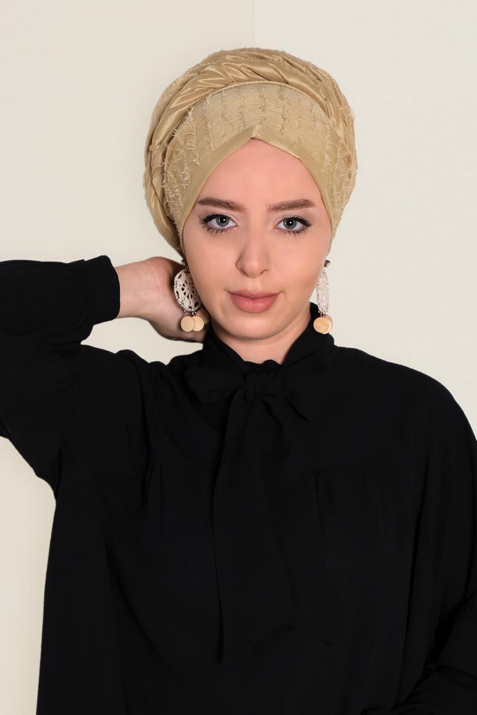 Female GOLD T 9953 ALVİNA TÜYLÜ ABİYE ŞAL