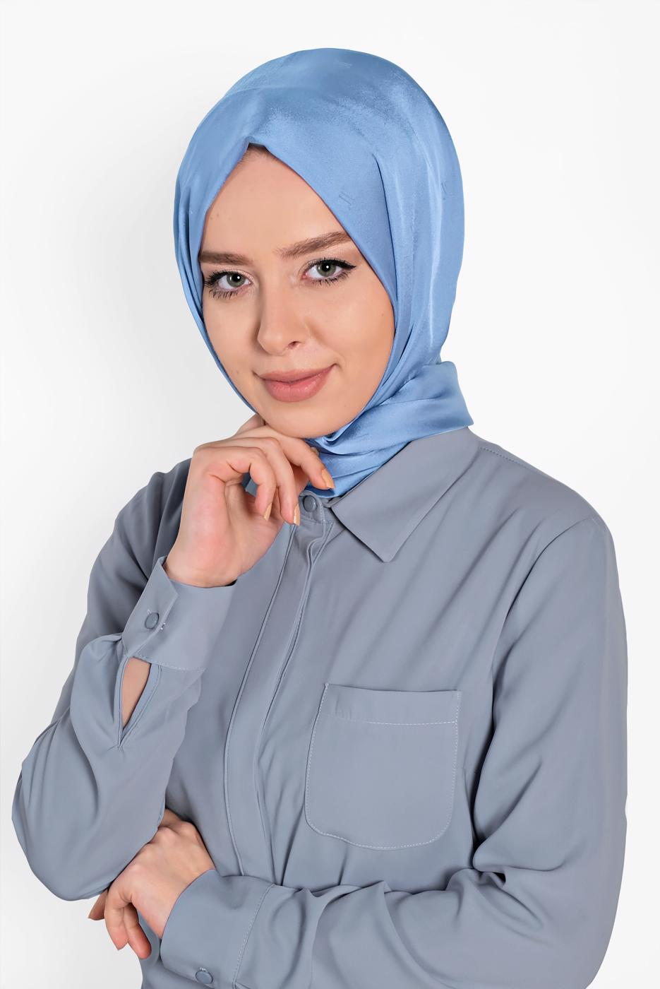 Female BLUE T 9957 ALVİNA LOGOLU İPEKSİ ŞAL