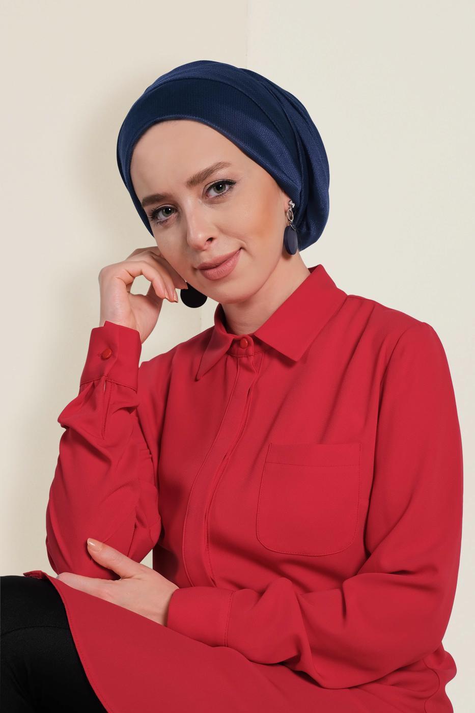 Bayan LACİVERT T 9959 ALVİNA PARLAK PÜTÜRLÜ ABİYE ŞAL