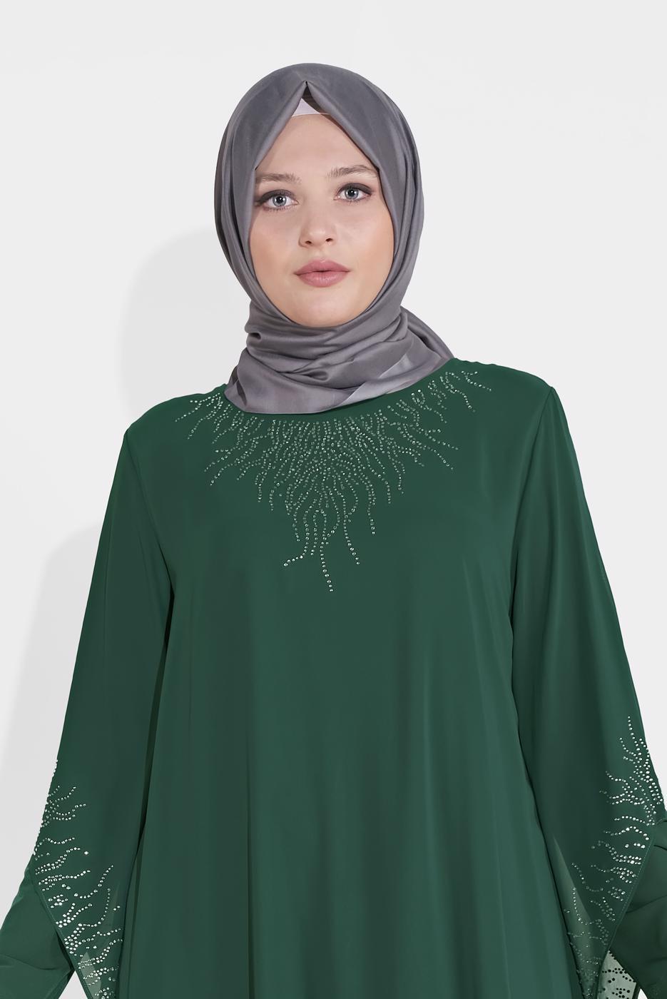 Female GREEN EMBELLISHED ABAYA 4215