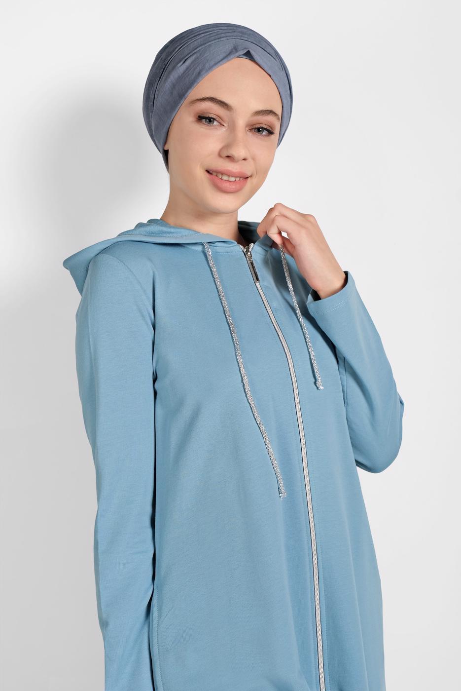 Female BLUE ZIPPED SPORT JACKET 5329