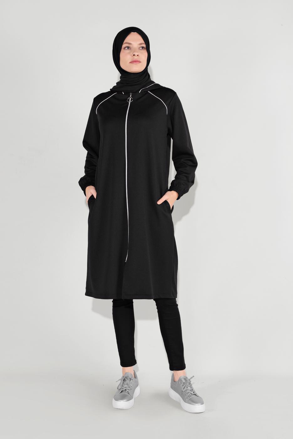 Female BLACK ZIPPED HOODED JACKET 6036
