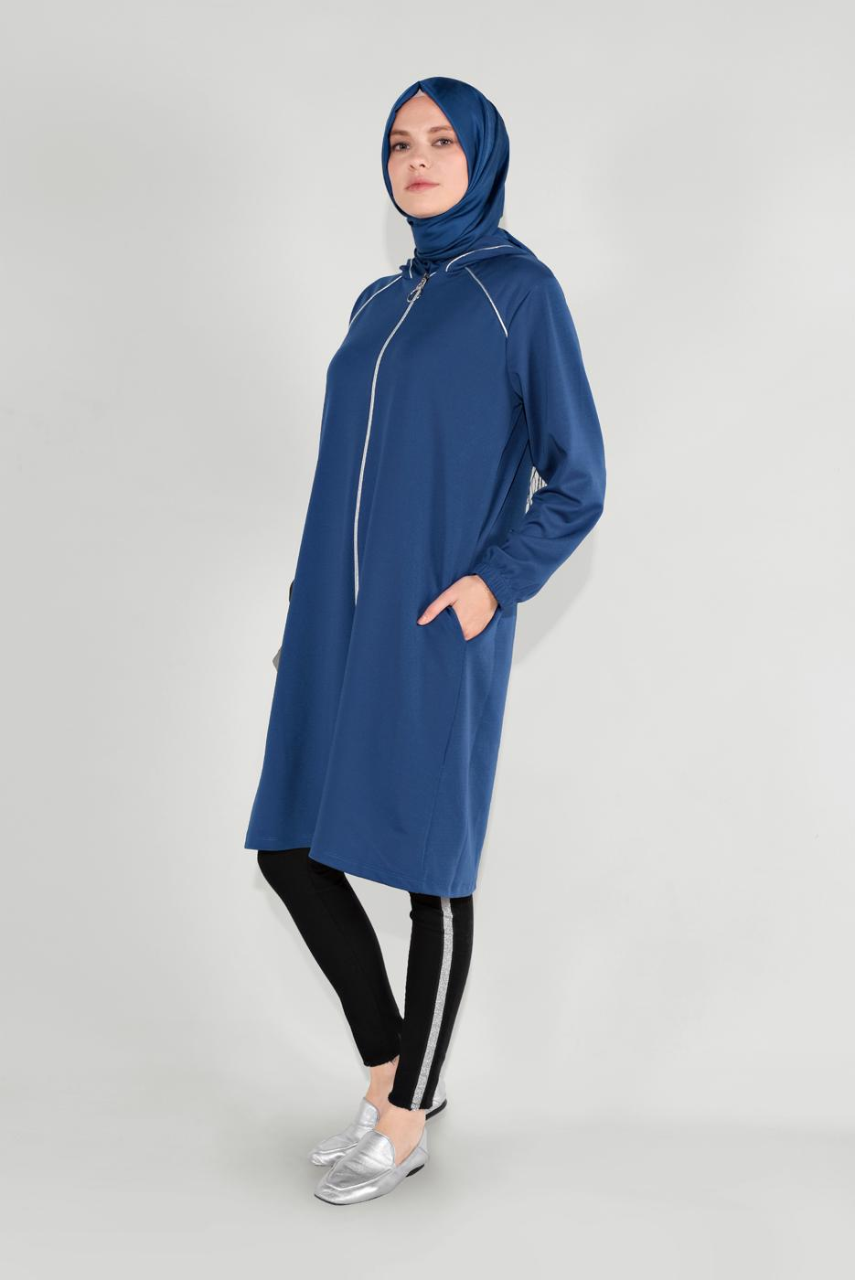 Female BLUE ZIPPED HOODED JACKET 6036