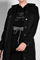 Female BLACK FRINGED-HEM DENIM JACKET 8160