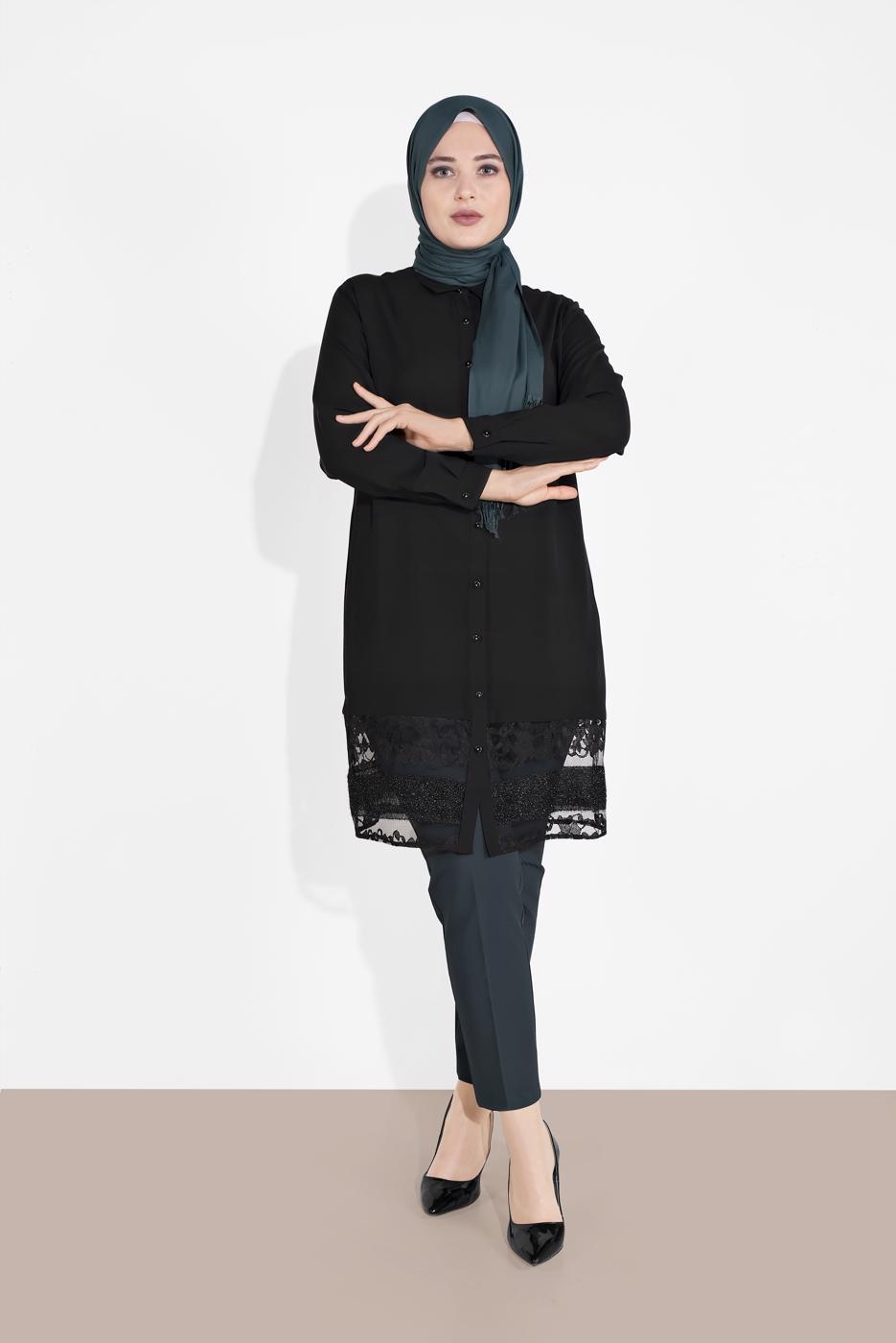 Female BLACK ALVINA LACE-HEM TUNIC 2888
