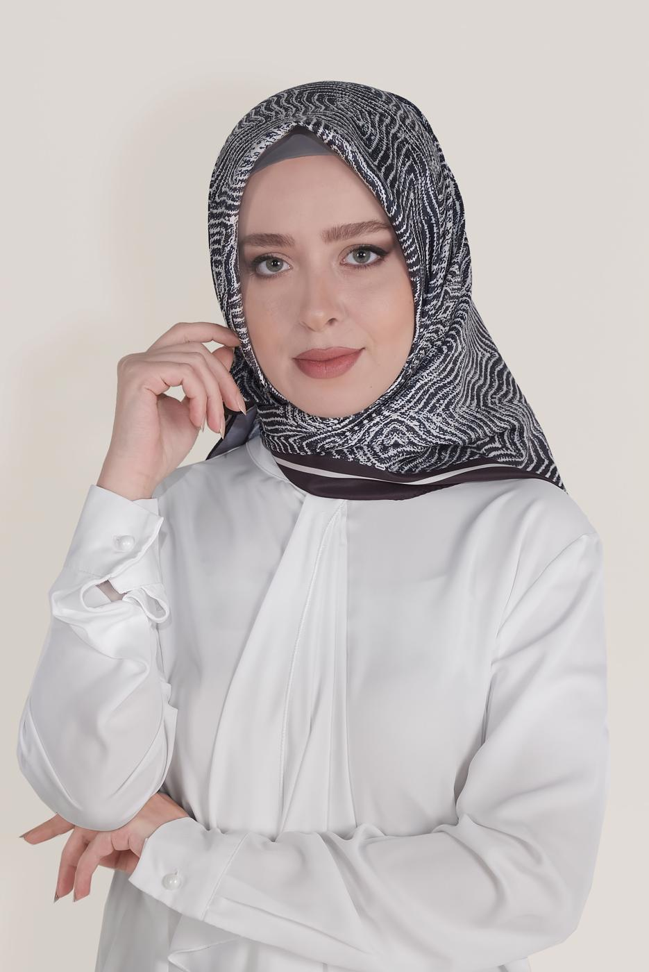 Bayan LACİVERT T 8036 ALVİNA DİJİTAL TWİLL EŞARP