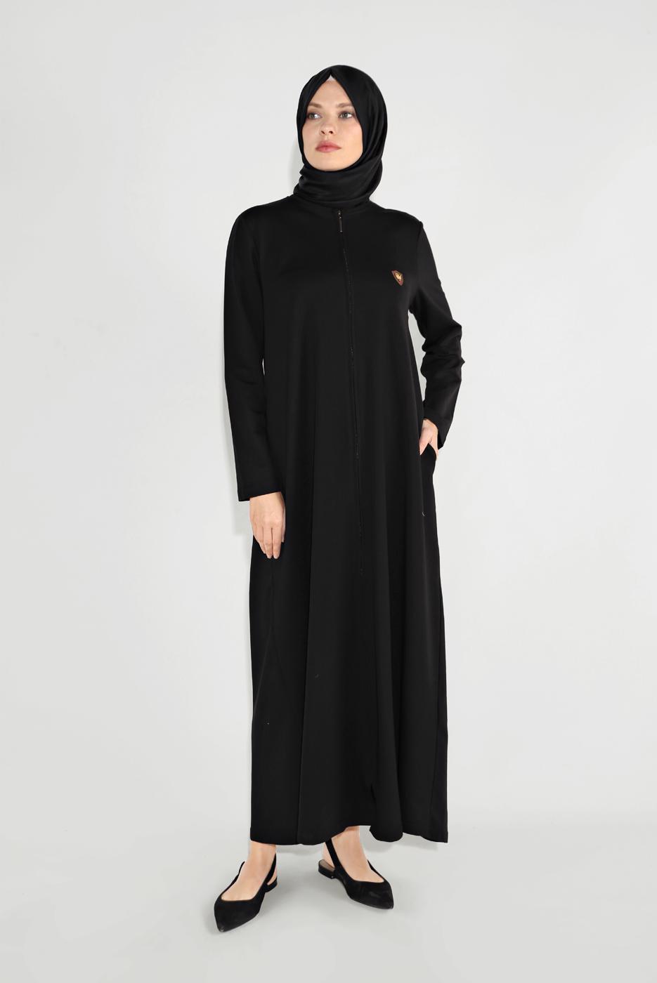 Bayan SİYAH BİSİKLET YAKA FERMUARLI FERACE 25106