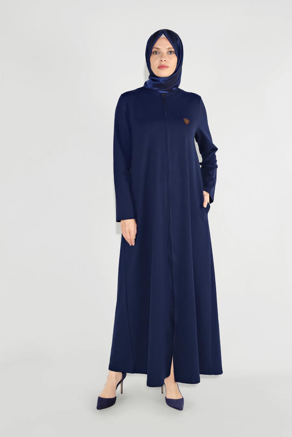 Bayan MAVİ BİSİKLET YAKA FERMUARLI FERACE 25106
