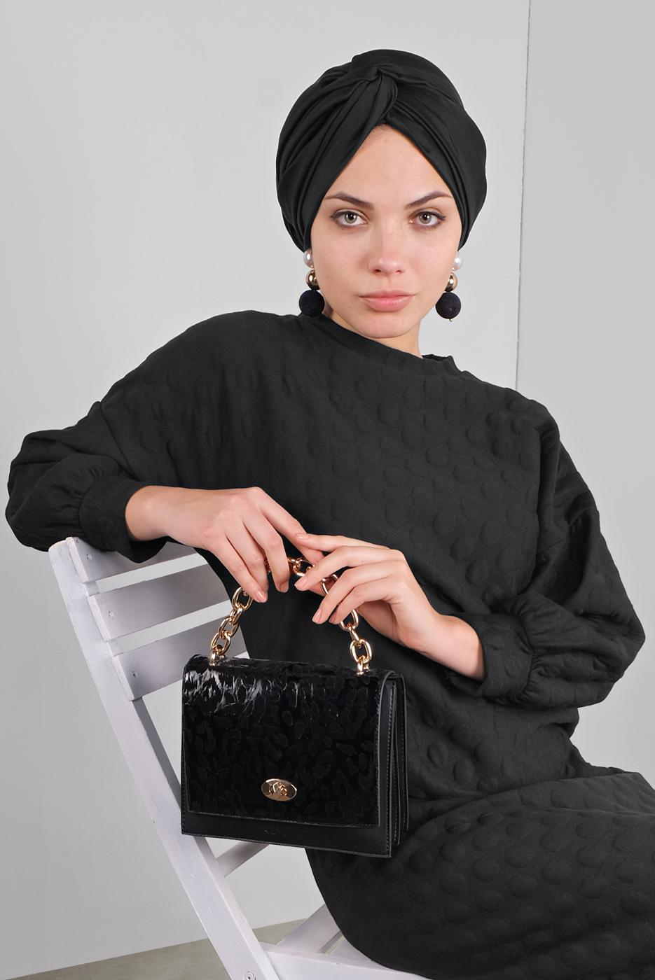 Female BLACK DRESS WITH BOBBLE 4234