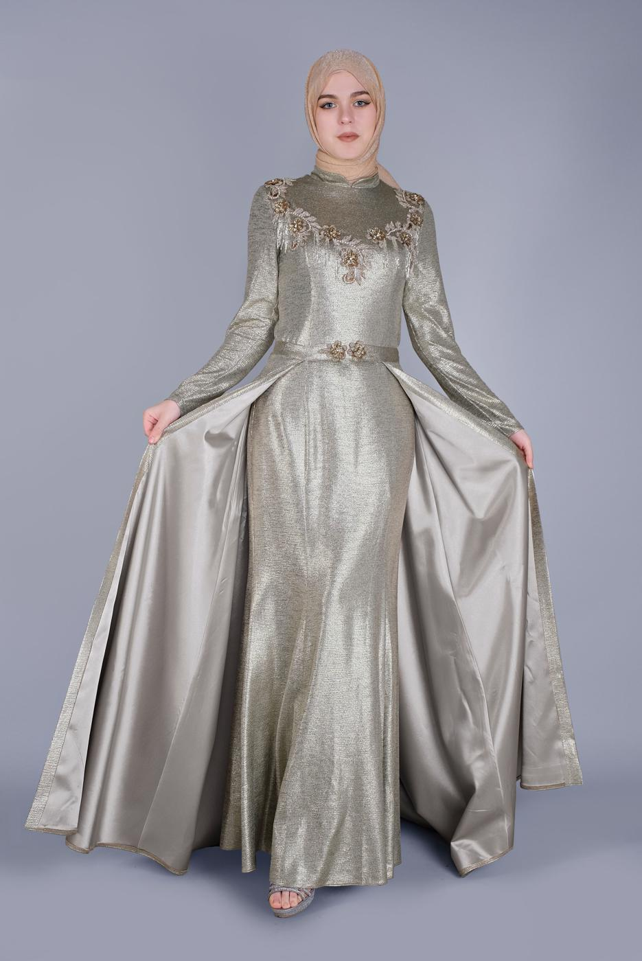 Female BEIGE ALVİNA EMBROIDERED DOUBLE DRESS5487