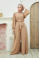 Female BEIGE BELTED OVERALLS WITH ELASTIC CUFFS T 260000