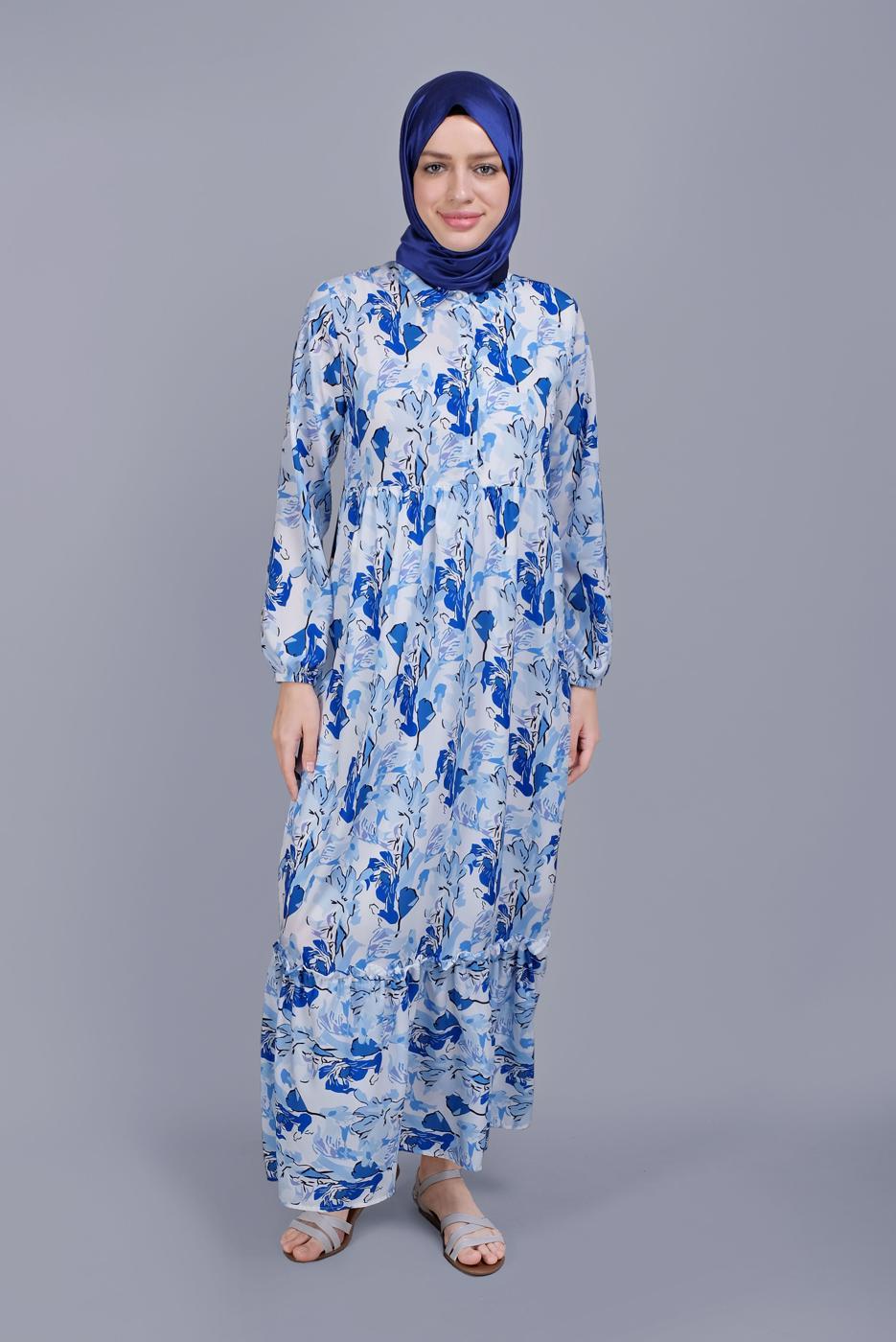 Bayan MAVİ DESENLİ VOLANLI ELBİSE  00001